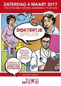 Poster Voorstelling Doktertje spelen Toneelvereniging Micro Dieren